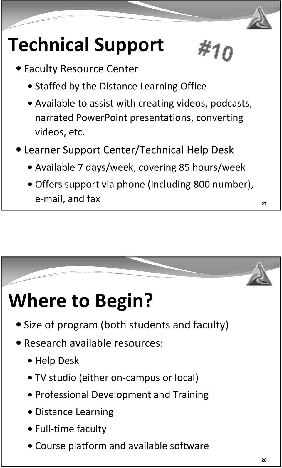 Learner Support Center/Technical Help Desk Available 7 days/week, covering 85 hours/week Offers support via phone (including 800 number), e-mail, and