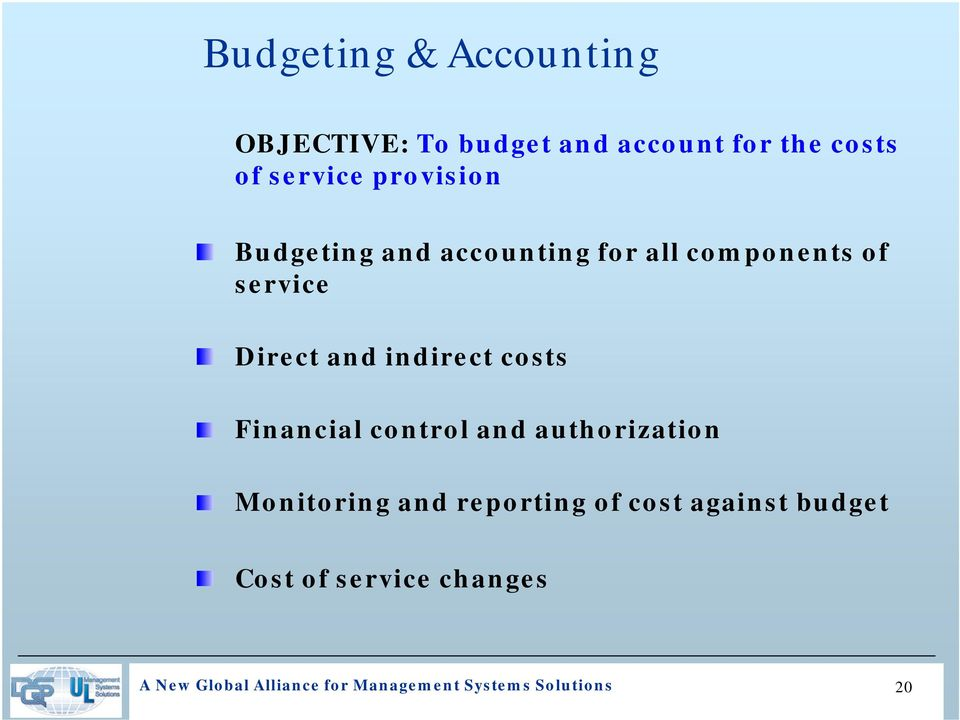 indirect costs Financial control and authorization Monitoring and reporting of