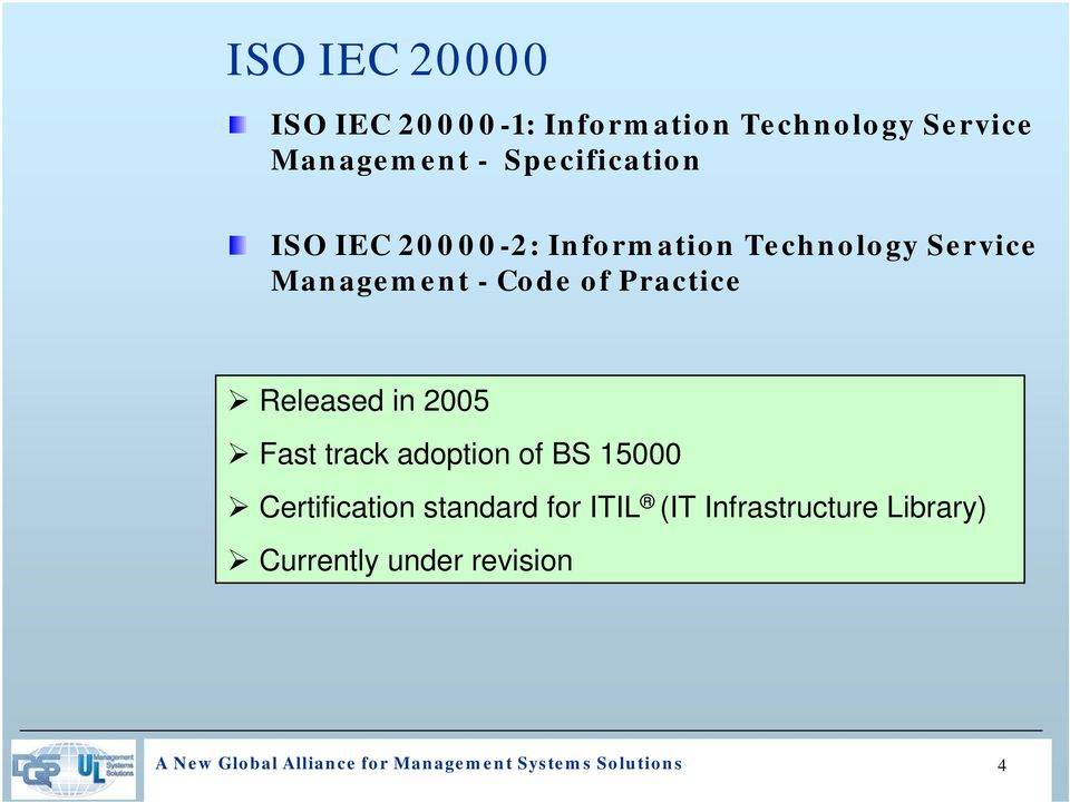 track adoption of BS 15000 Certification standard for ITIL (IT