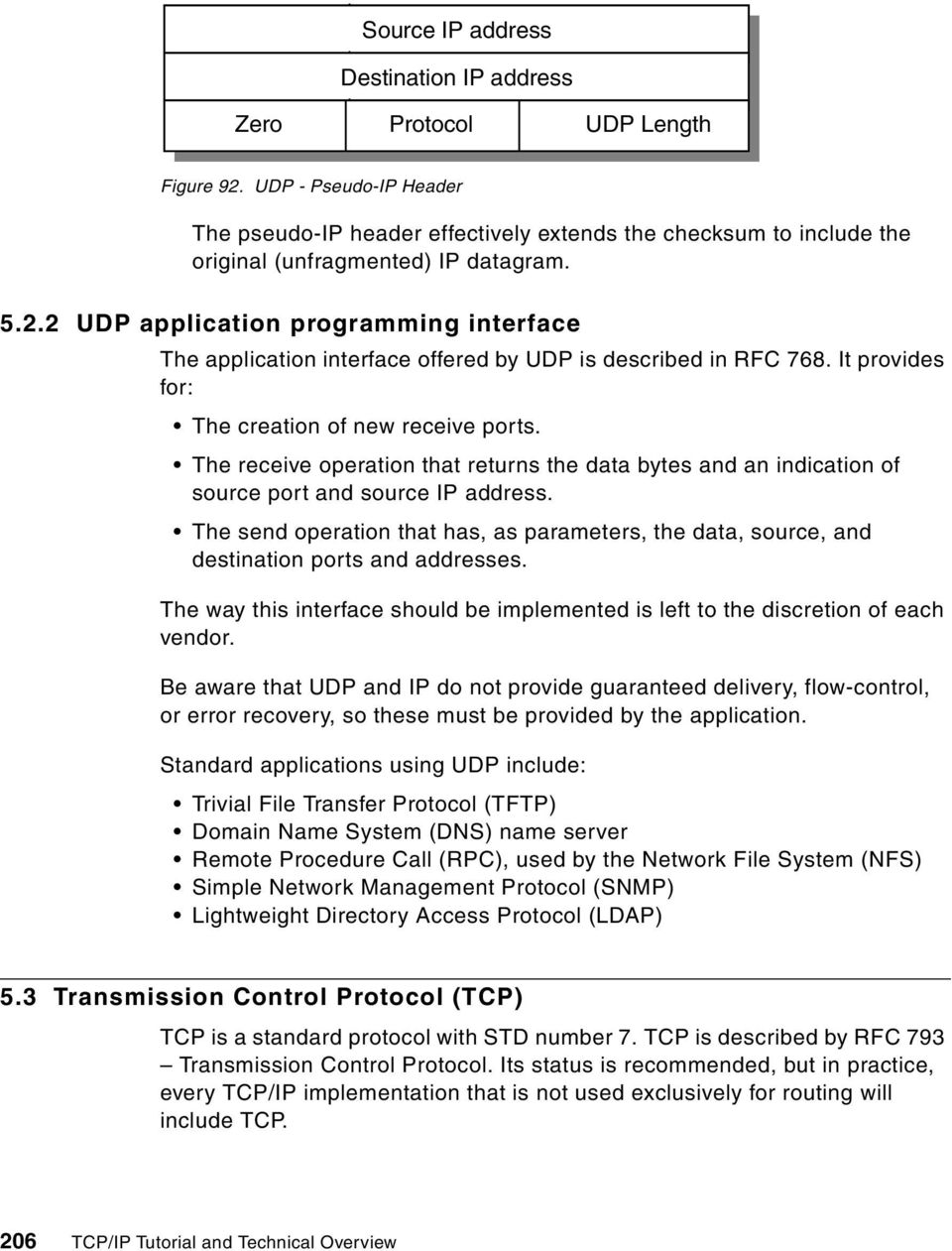 2 UDP application programming interface The application interface offered by UDP is described in RFC 768. It provides for: The creation of new receive ports.