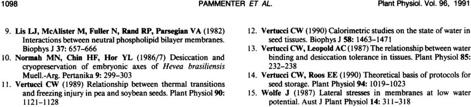 Vertucci CW (1989) Relationship between thermal transitions and freeing injury in pea and soybean seeds. Plant Physiol 9: 1121-1128 12.