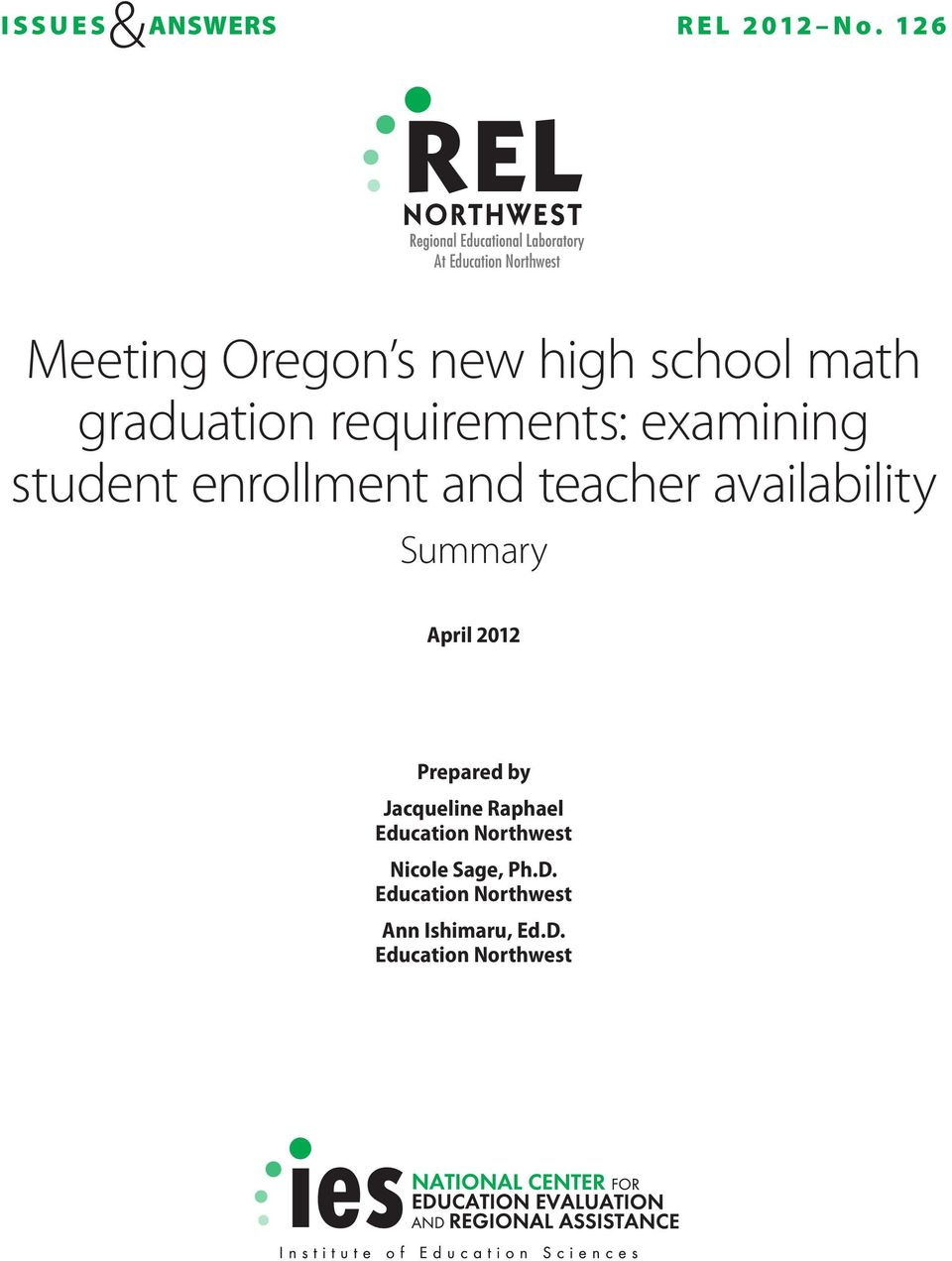 requirements: examining student enrollment and teacher availability April 2012