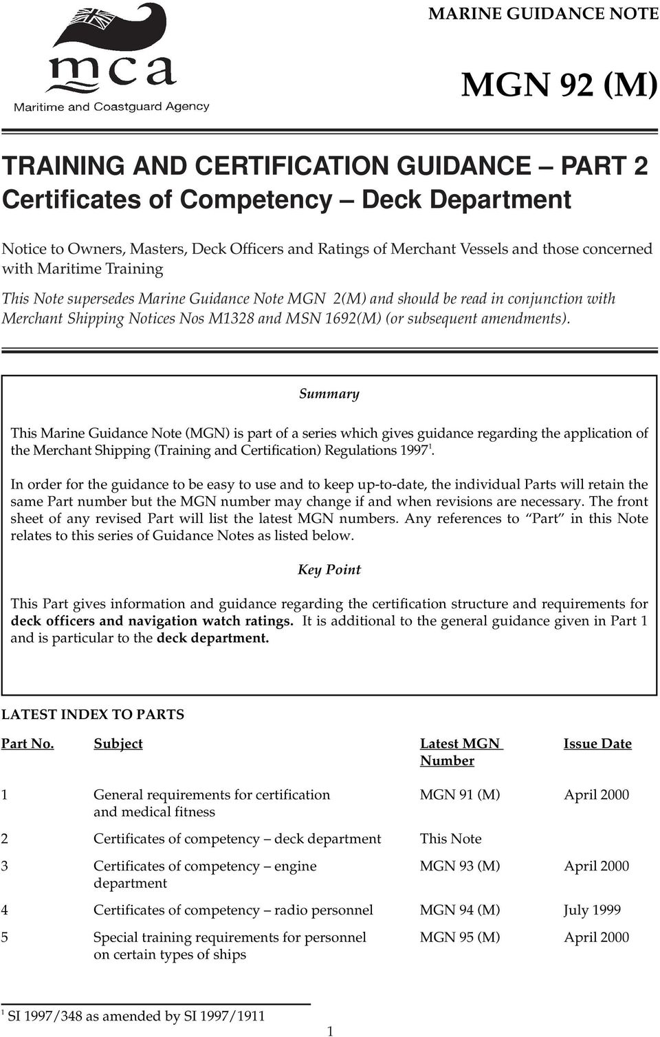 amendments). Summary This Marine Guidance Note (MGN) is part of a series which gives guidance regarding the application of the Merchant Shipping (Training and Certification) Regulations 1997 1.