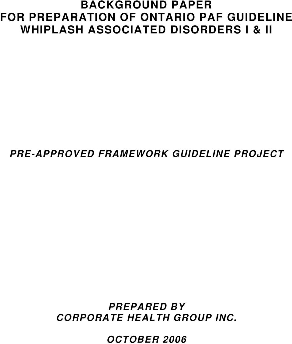 & II PRE-APPROVED FRAMEWORK GUIDELINE PROJECT