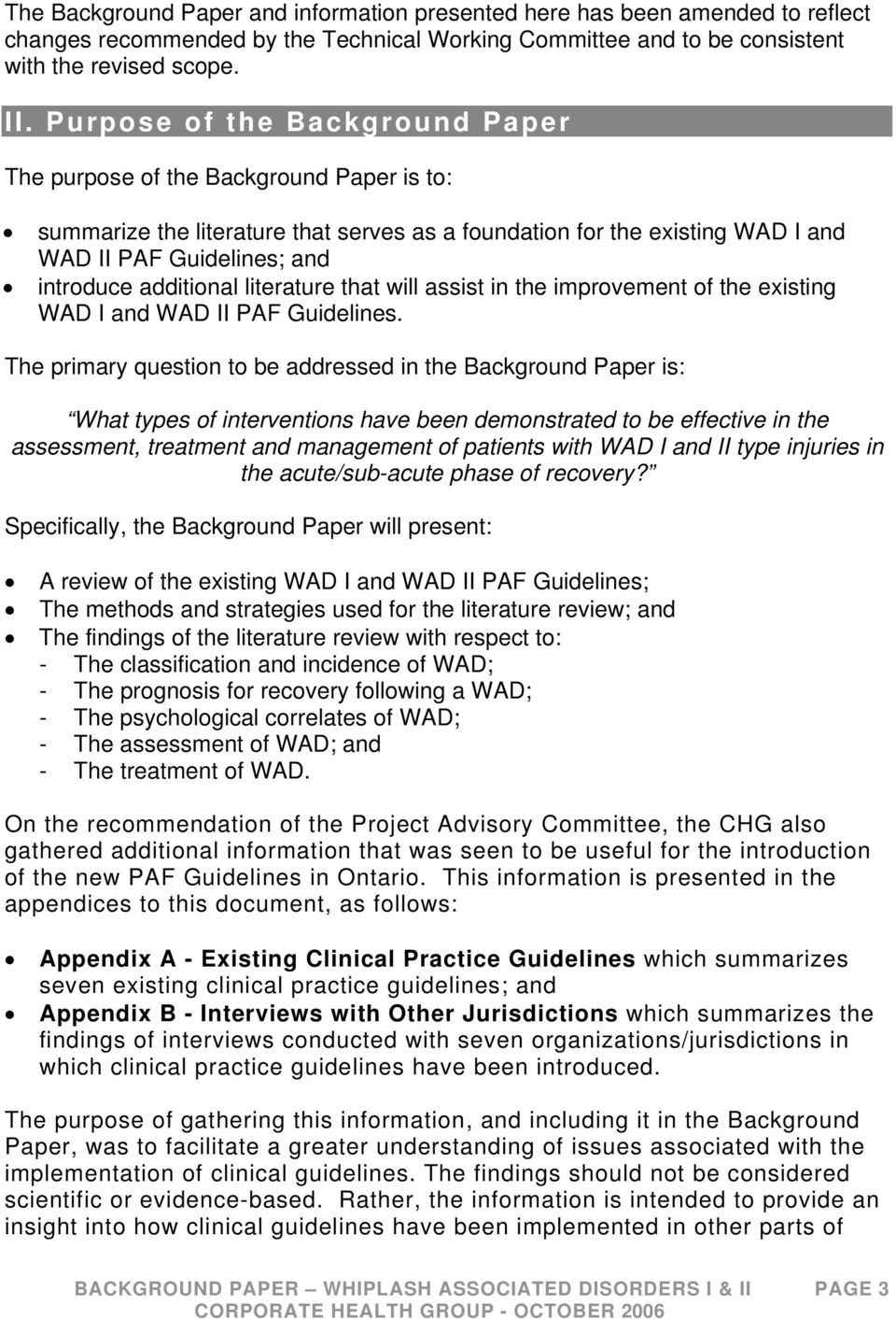 additional literature that will assist in the improvement of the existing WAD I and WAD II PAF Guidelines.