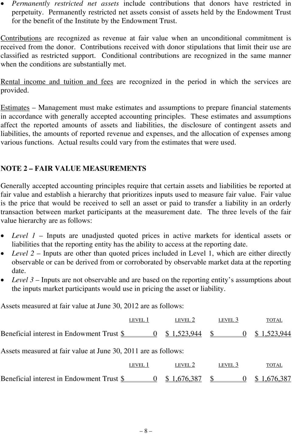 Contributions are recognized as revenue at fair value when an unconditional commitment is received from the donor.
