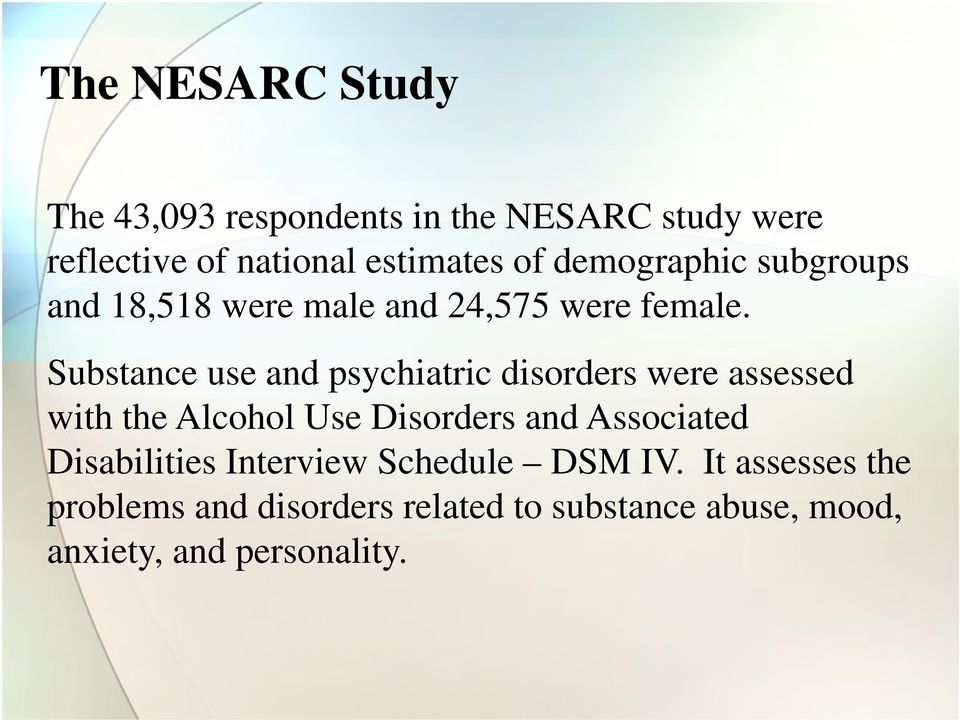 Substance use and psychiatric disorders were assessed with the Alcohol Use Disorders and Associated