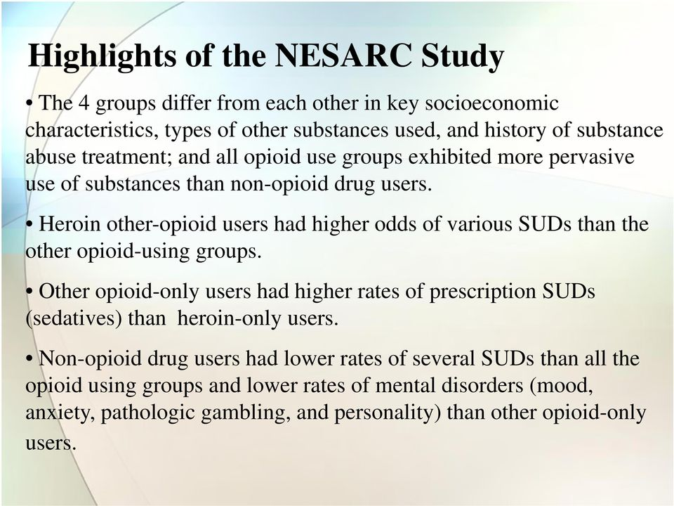 Heroin other-opioid users had higher odds of various SUDs than the other opioid-using groups.