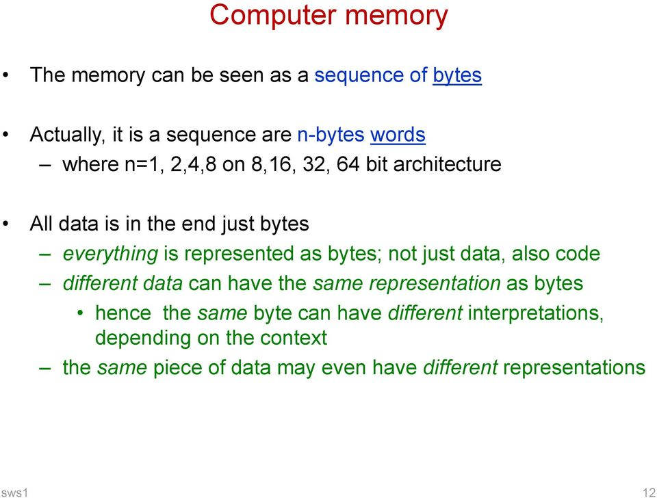 not just data, also code different data can have the same representation as bytes hence the same byte can have