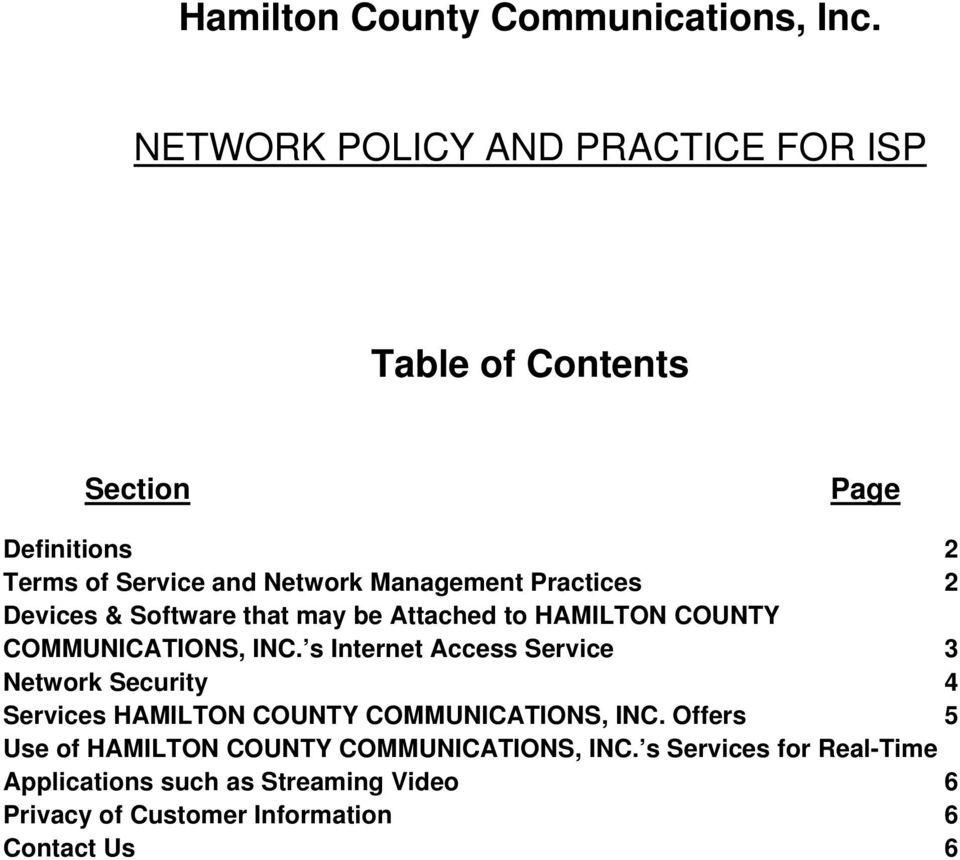 Practices 2 Devices & Software that may be Attached to HAMILTON COUNTY COMMUNICATIONS, INC.