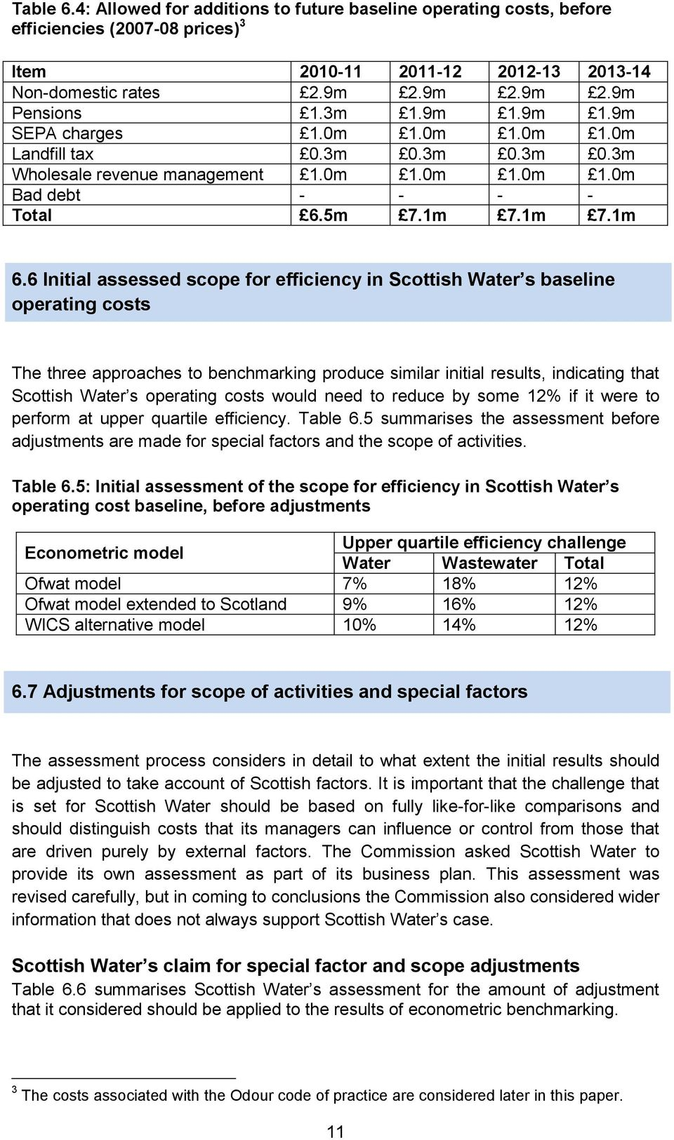 6 Initial assessed scope for efficiency in Scottish Water s baseline operating costs The three approaches to benchmarking produce similar initial results, indicating that Scottish Water s operating