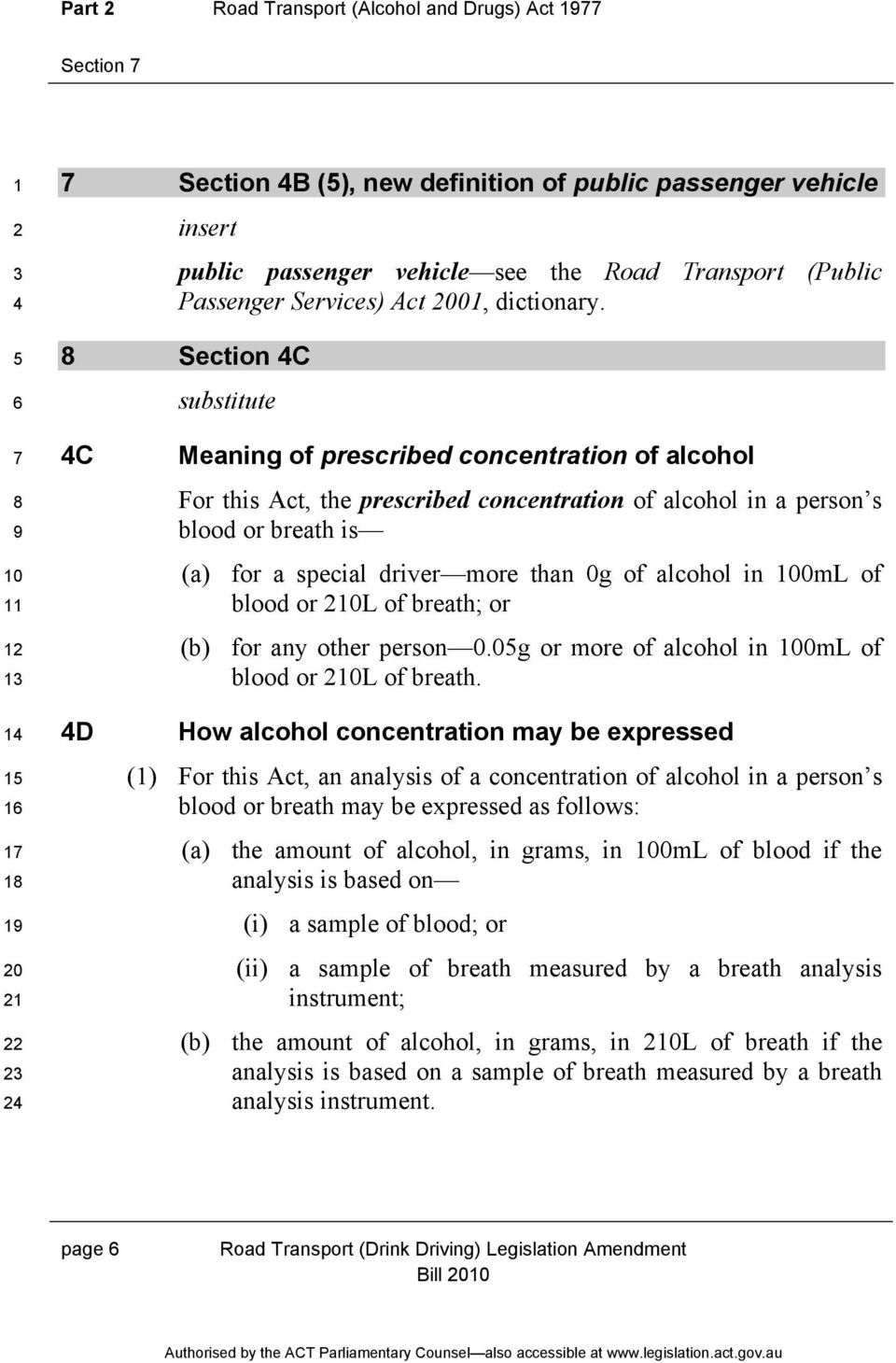 Section C 0 0 C D Meaning of prescribed concentration of alcohol For this Act, the prescribed concentration of alcohol in a person s blood or breath is (a) for a special driver more than 0g of