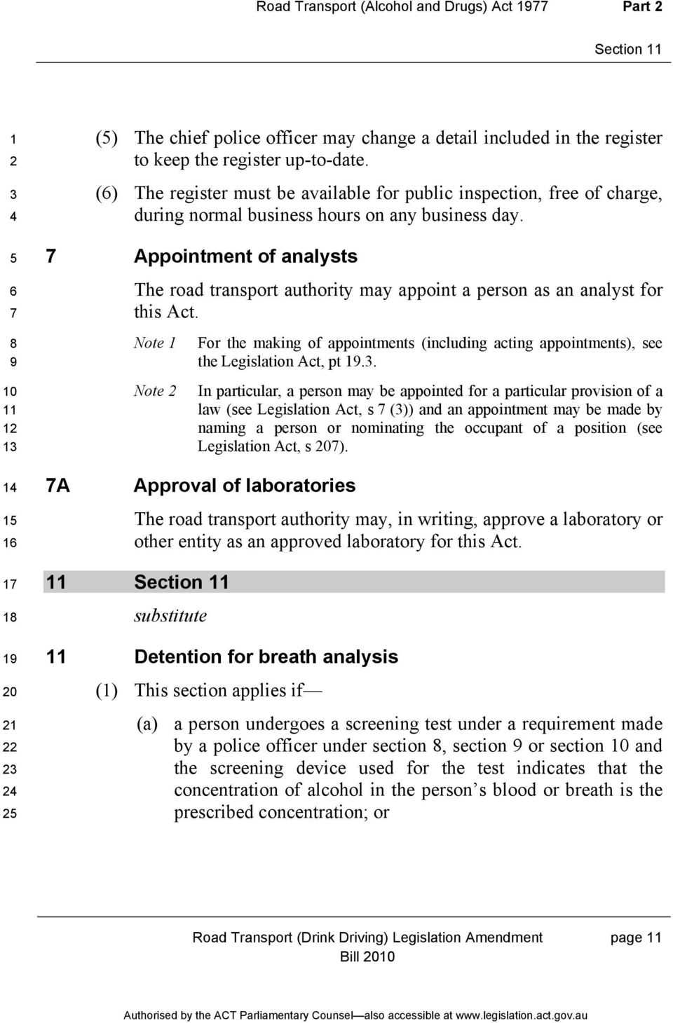 Appointment of analysts The road transport authority may appoint a person as an analyst for this Act. Note For the making of appointments (including acting appointments), see the Legislation Act, pt.