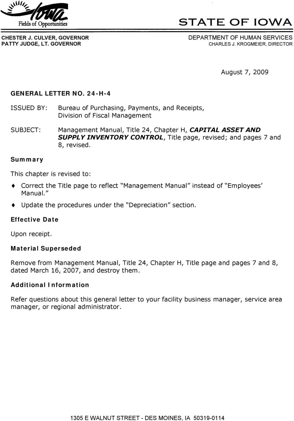 revised; and pages 7 and 8, revised. Summary This chapter is revised to: Correct the Title page to reflect Management Manual instead of Employees Manual.