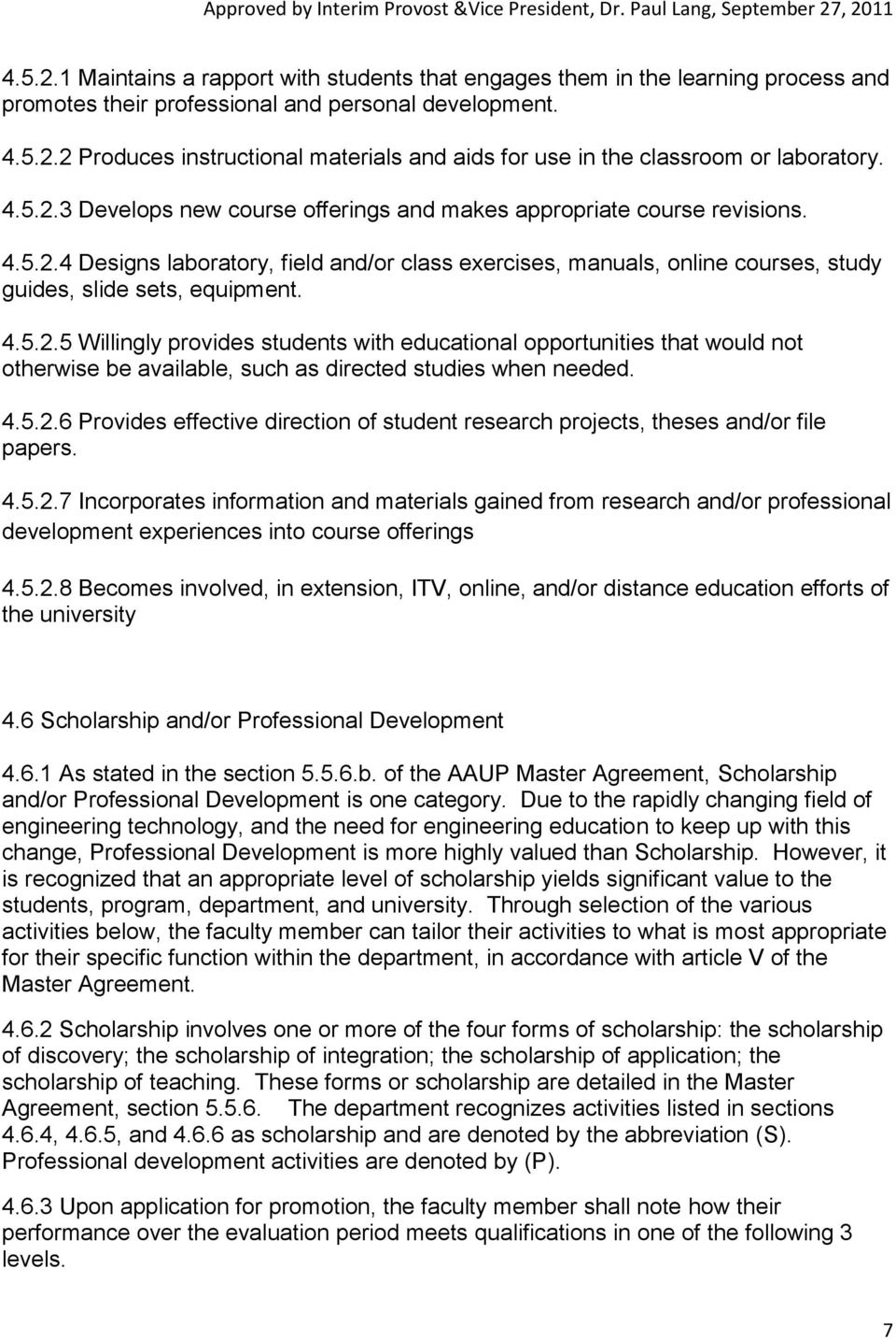 4.5.2.6 Provides effective direction of student research projects, theses and/or file papers. 4.5.2.7 Incorporates information and materials gained from research and/or professional development experiences into course offerings 4.