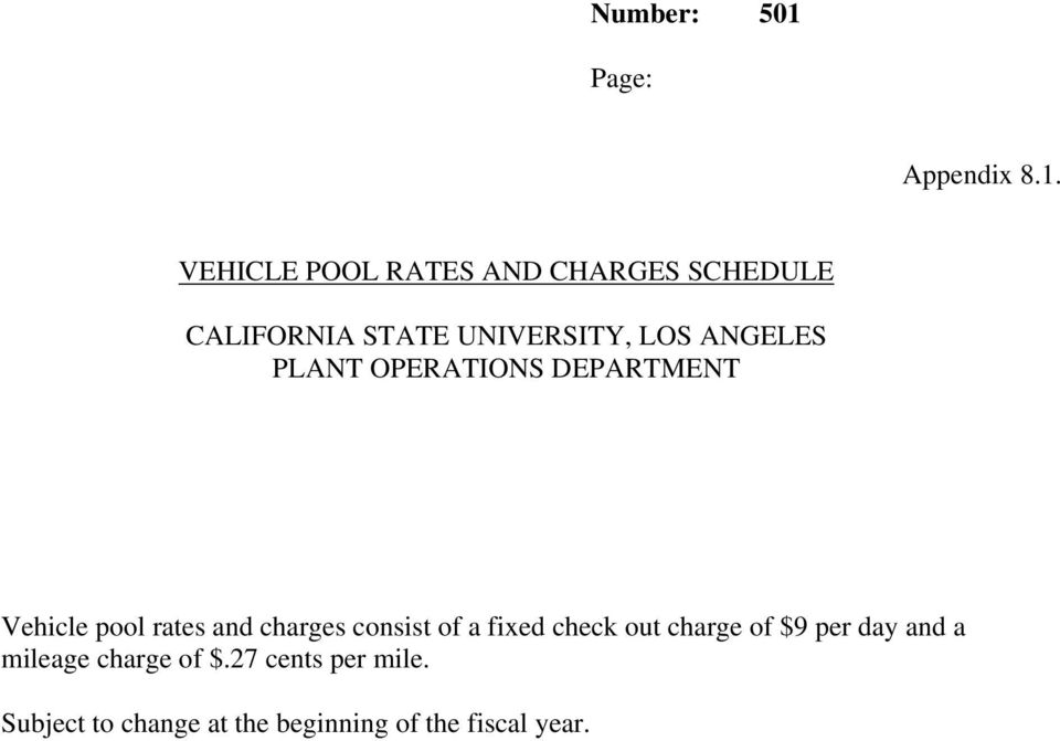 ANGELES PLANT OPERATIONS DEPARTMENT Vehicle pool rates and charges consist