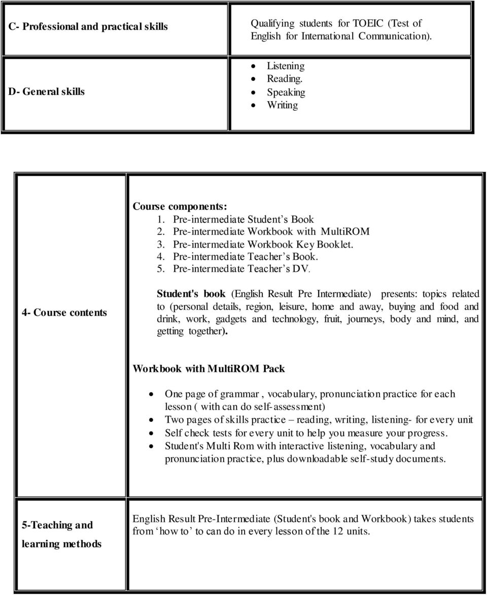 4- Course contents Student's book (English Result Pre Intermediate) presents: topics related to (personal details, region, leisure, home and away, buying and food and drink, work, gadgets and