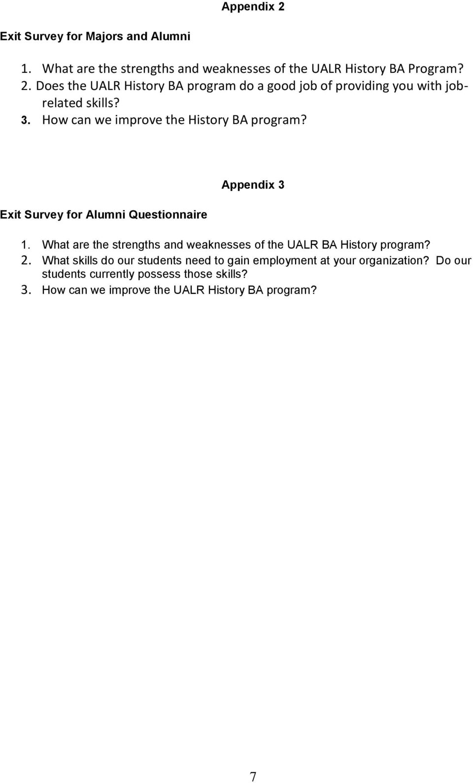 What are the strengths and weaknesses of the UALR BA History program? 2.
