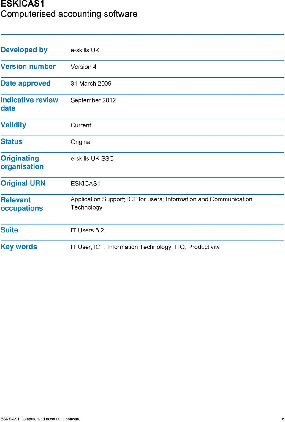 Original e-skills UK SSC ESKICAS1 Application Support; ICT for users; Information and Communication