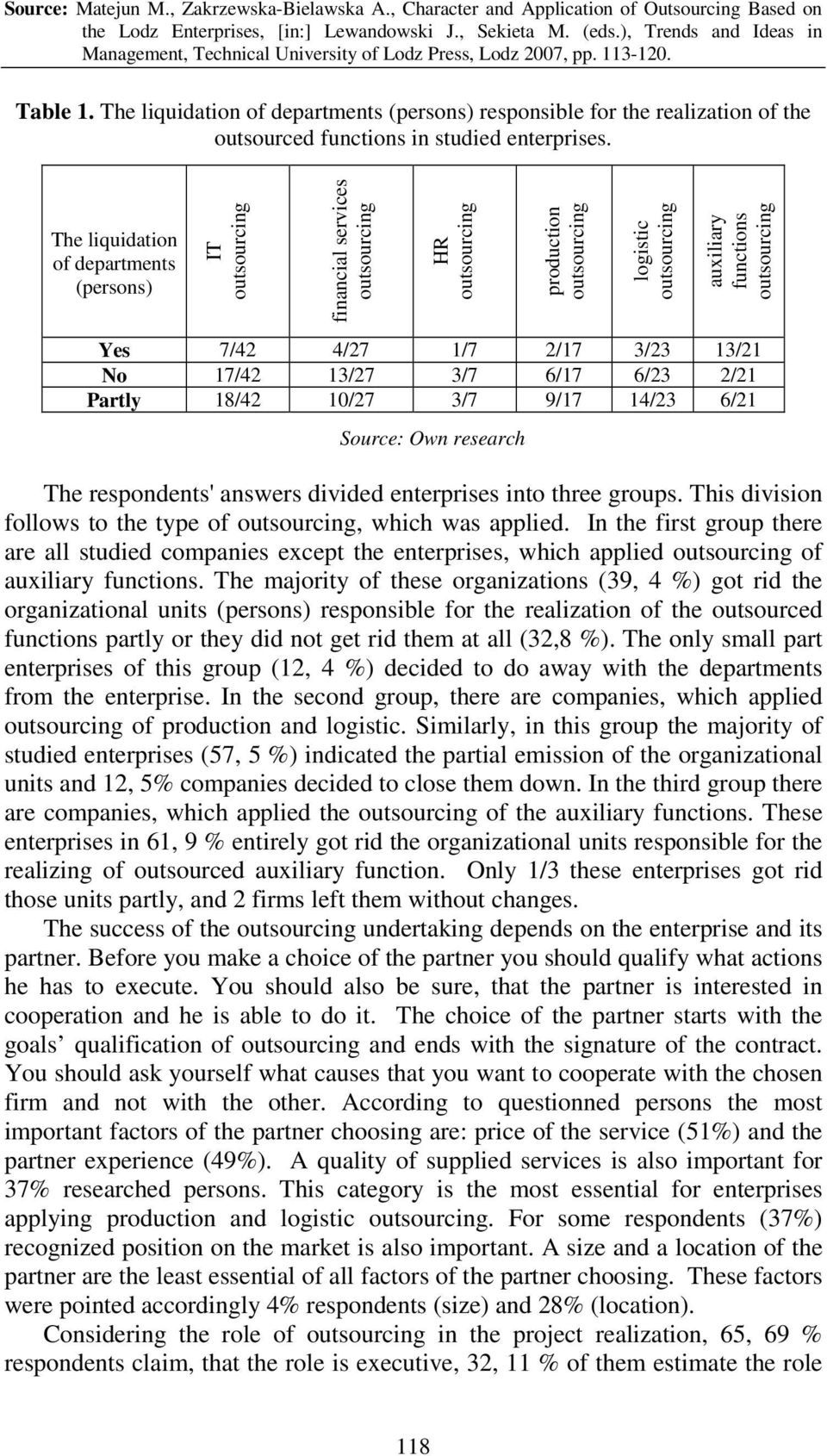 9/17 14/23 6/21 Source: Own research The respondents' answers divided enterprises into three groups. This division follows to the type of, which was applied.