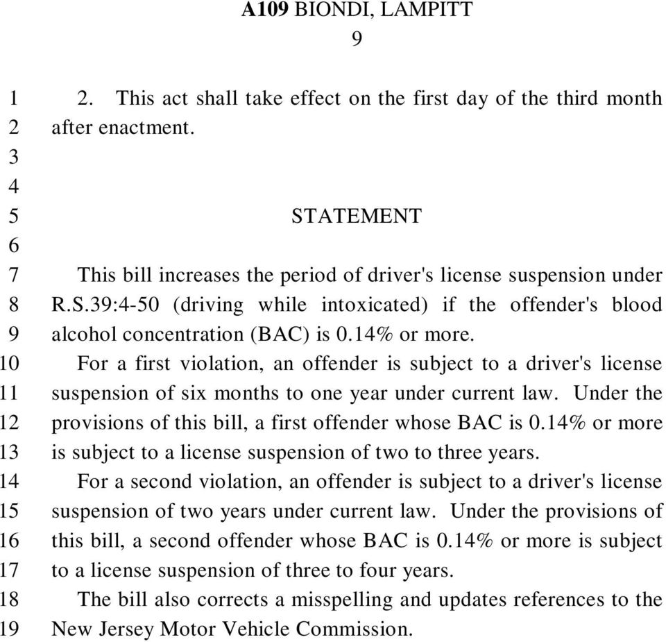 Under the provisions of this bill, a first offender whose BAC is 0.% or more is subject to a license suspension of two to three years.