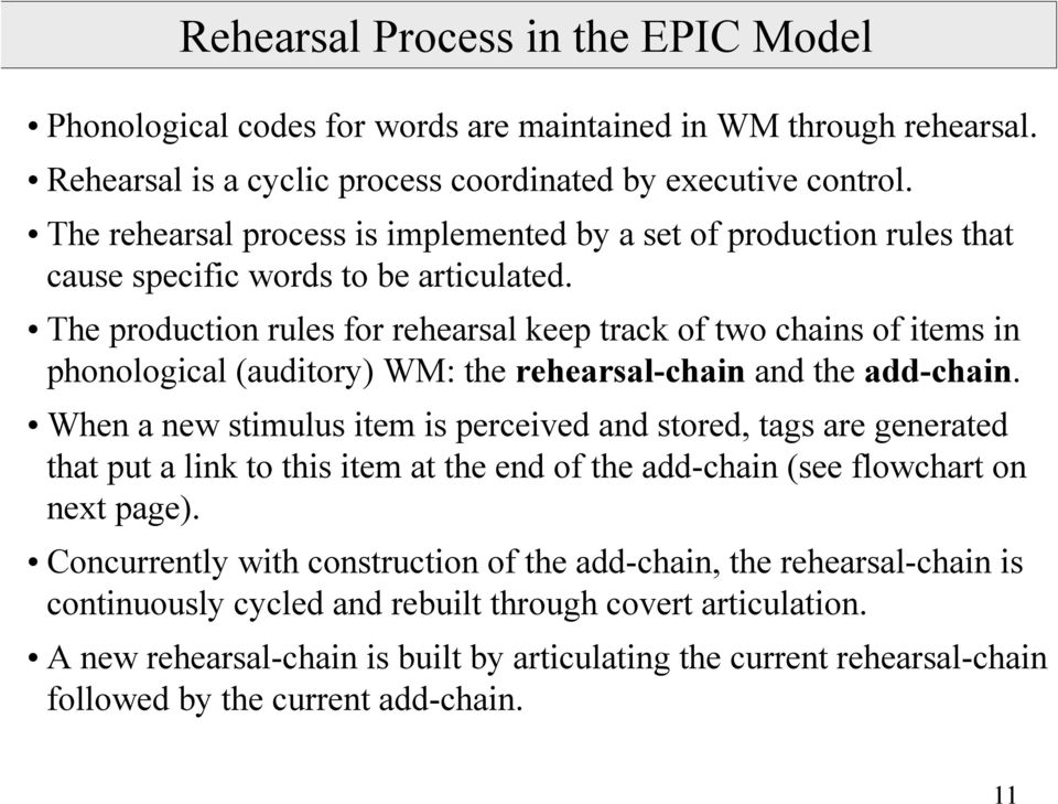 The production rules for rehearsal keep track of two chains of items in phonological (auditory) WM: the rehearsal-chain and the add-chain.