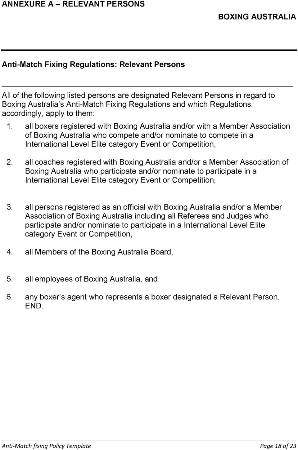 all boxers registered with Boxing Australia and/or with a Member Association of Boxing Australia who compete and/or nominate to compete in a International Level Elite category Event or Competition, 2.