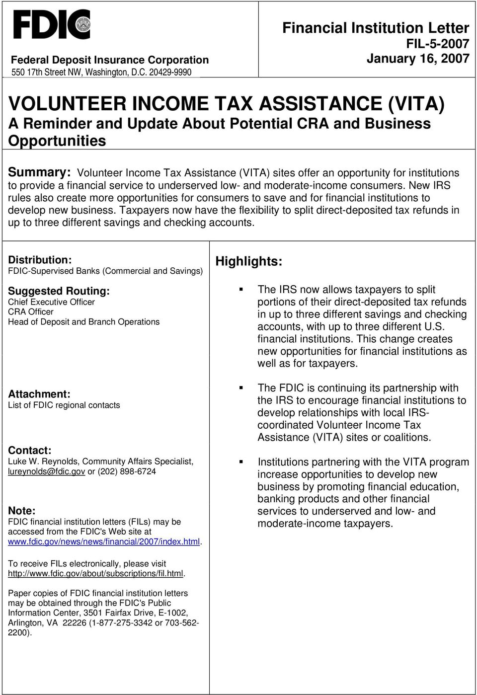 20429-9990 Financial Institution Letter FIL-5-2007 January 16, 2007 VOLUNTEER INCOME TAX ASSISTANCE (VITA) A Reminder and Update About Potential CRA and Business Opportunities Summary: Volunteer