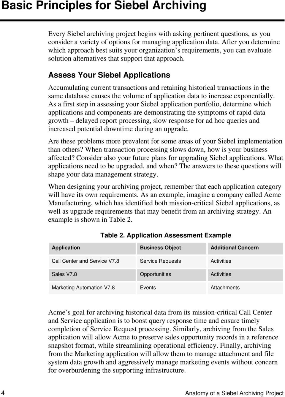 Assess Your Siebel Applications Accumulating current transactions and retaining historical transactions in the same database causes the volume of application data to increase exponentially.