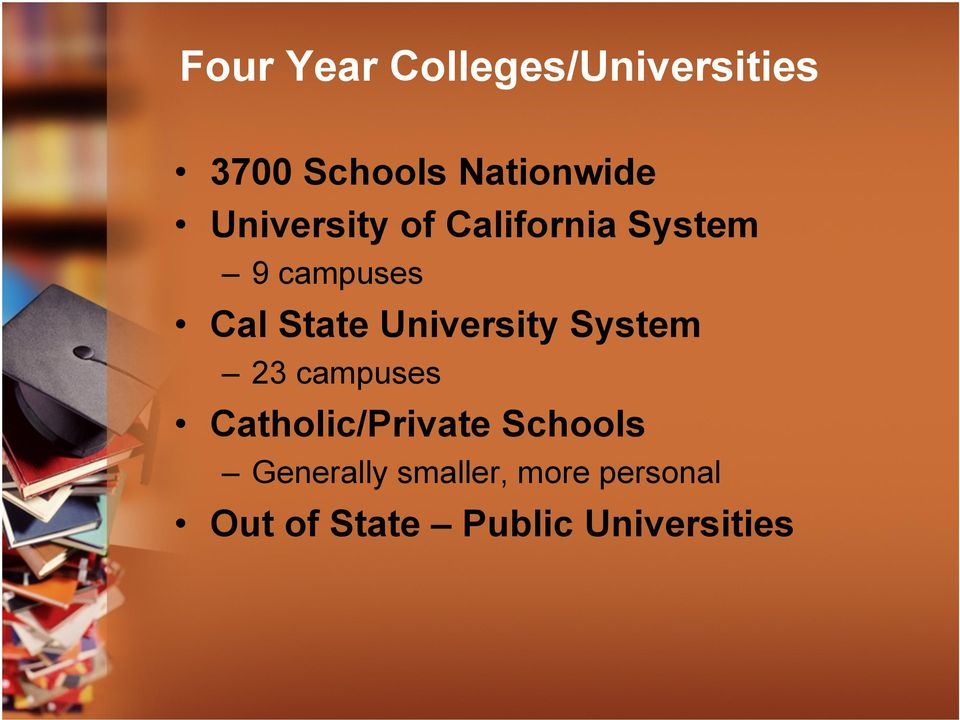 University System 23 campuses Catholic/Private Schools