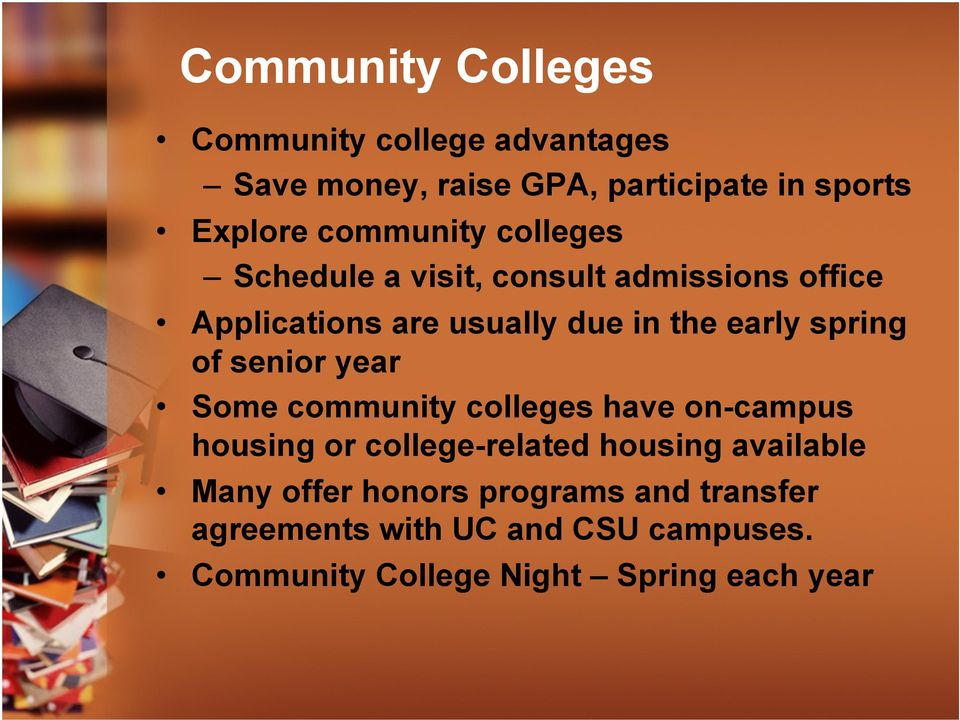 spring of senior year Some community colleges have on-campus housing or college-related housing available