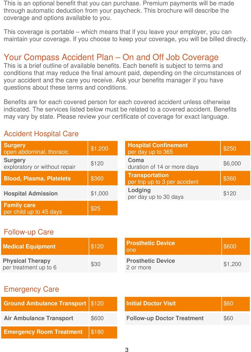 Your Compass Accident Plan On and Off Job Coverage This is a brief outline of available benefits.