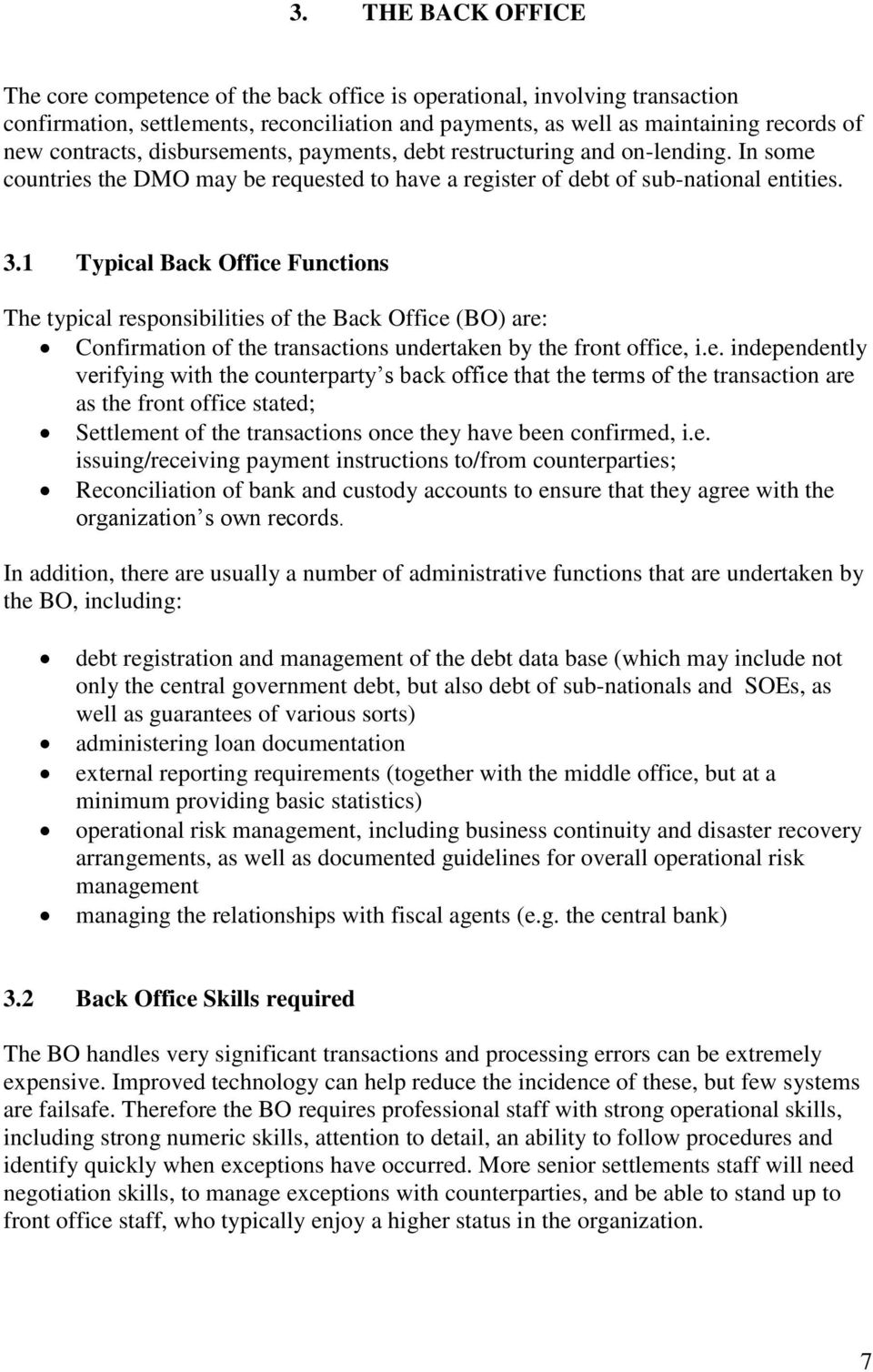 1 Typical Back Office