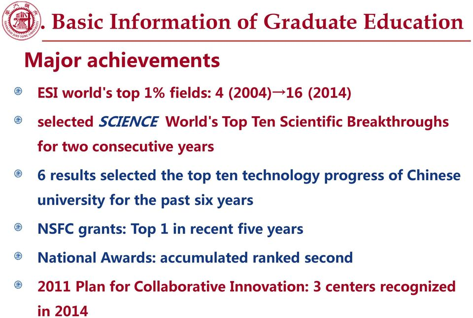 top ten technology progress of Chinese university for the past six years NSFC grants: Top 1 in recent five