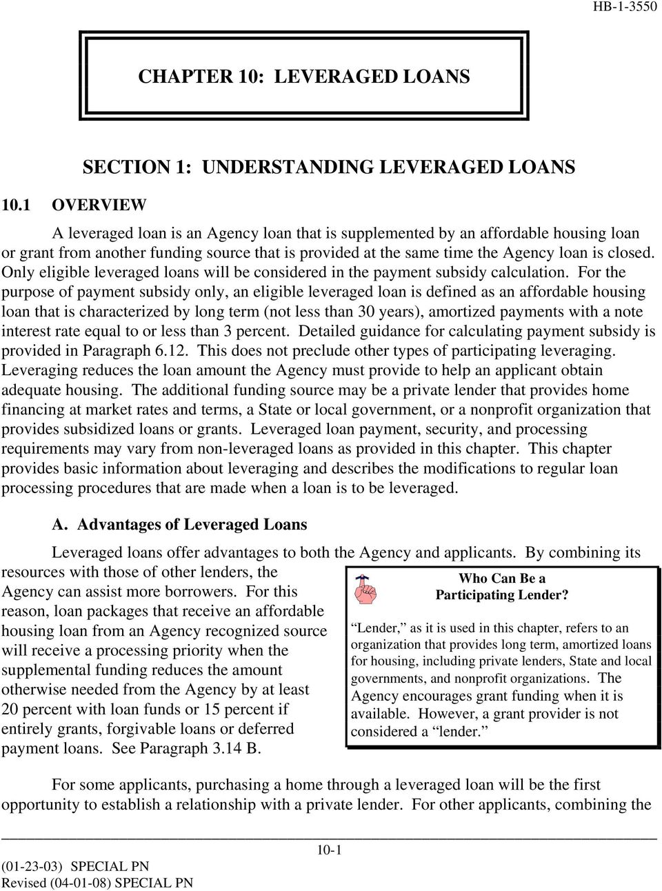 Only eligible leveraged loans will be considered in the payment subsidy calculation.