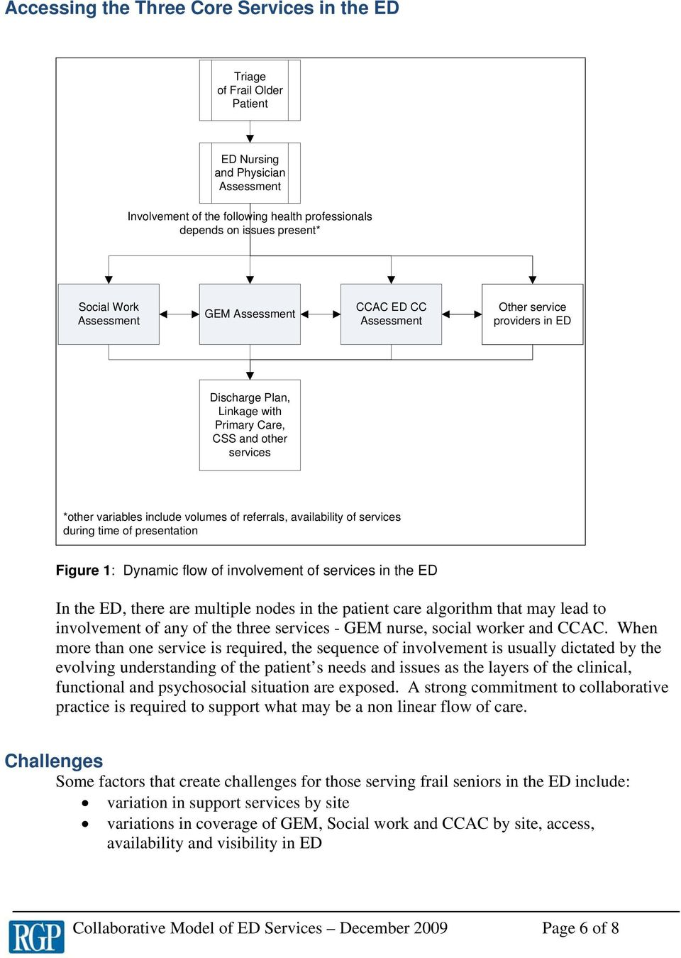 availability of services during time of presentation Figure 1: Dynamic flow of involvement of services in the ED In the ED, there are multiple nodes in the patient care algorithm that may lead to