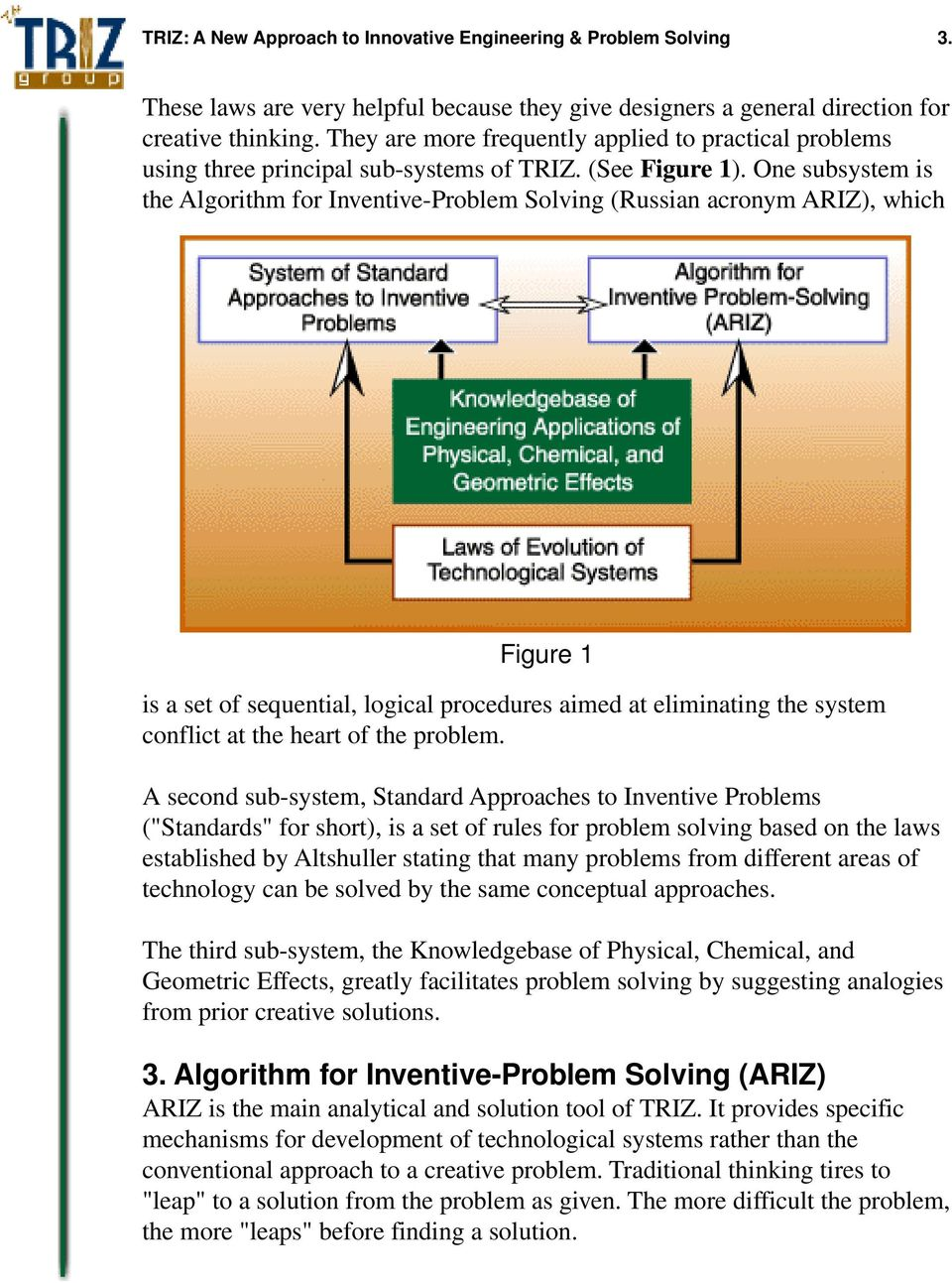 One subsystem is the Algorithm for Inventive-Problem Solving (Russian acronym ARIZ), which Figure 1 is a set of sequential, logical procedures aimed at eliminating the system conflict at the heart of