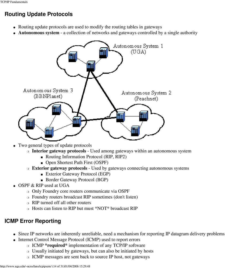 gateway protocols - Used by gateways connecting autonomous systems Exterior Gateway Protocol (EGP) Border Gateway Protocol (BGP) OSPF & RIP used at UGA Only Foundry core routers communicate via OSPF