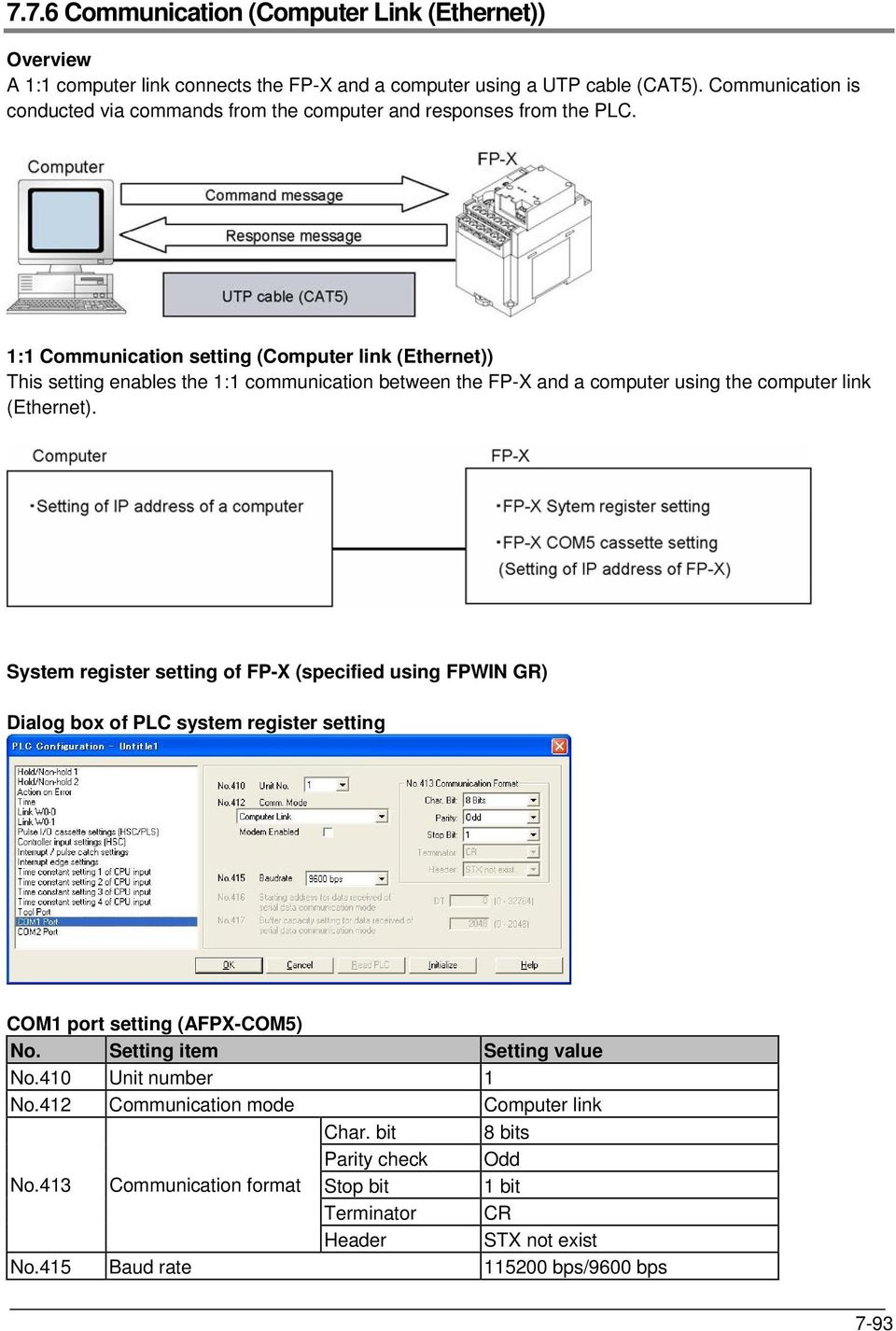1:1 Communication setting (Computer link (Ethernet)) This setting enables the 1:1 communication between the FP-X and a computer using the computer link (Ethernet).