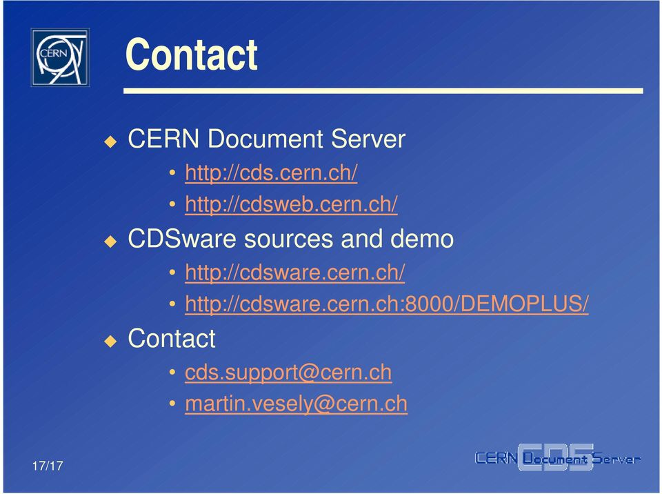ch/ CDSware sources and demo Contact http://cdsware.