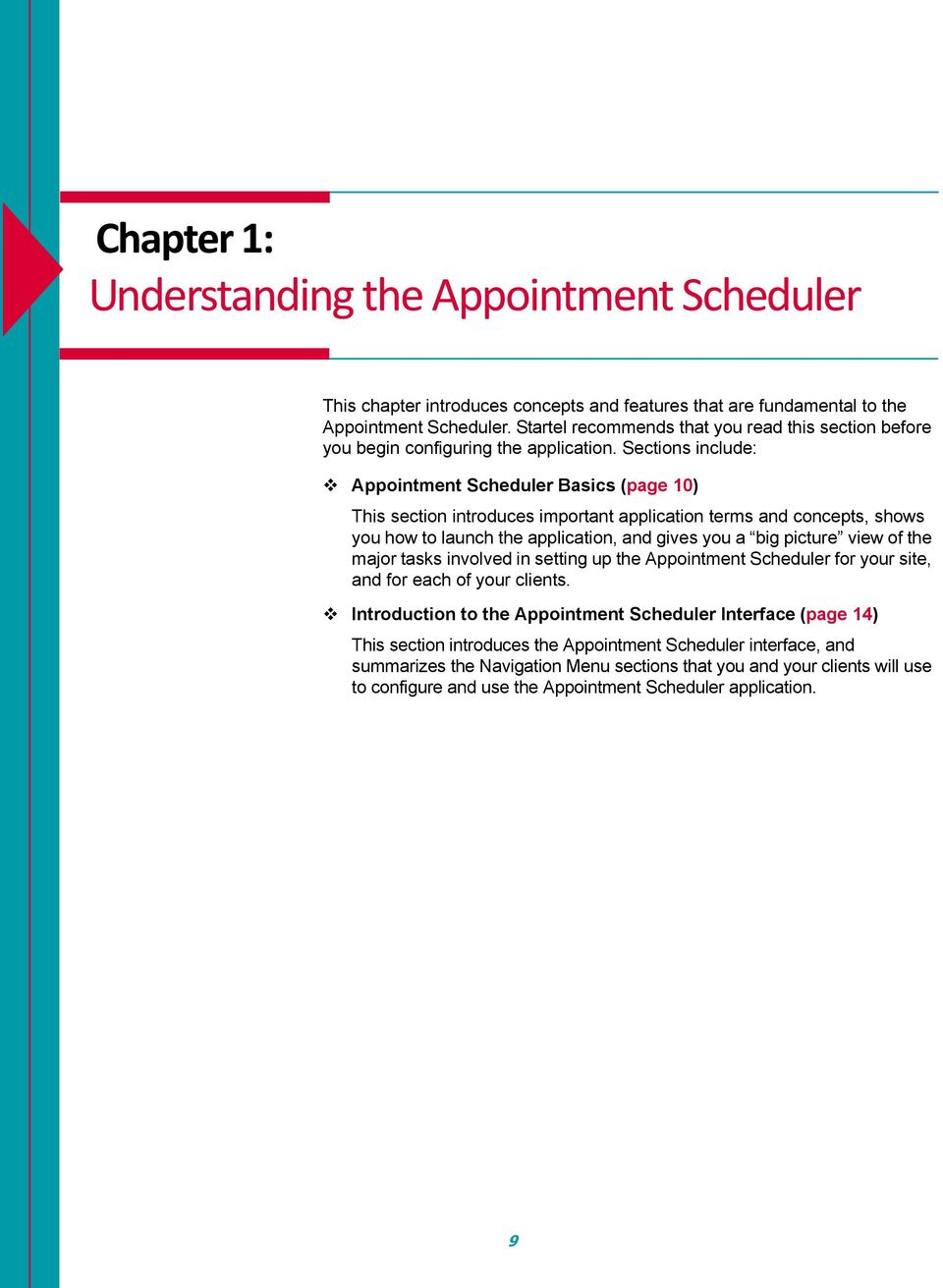 Sections include: Appointment Scheduler Basics (page 10) This section introduces important application terms and concepts, shows you how to launch the application, and gives you a big picture view of