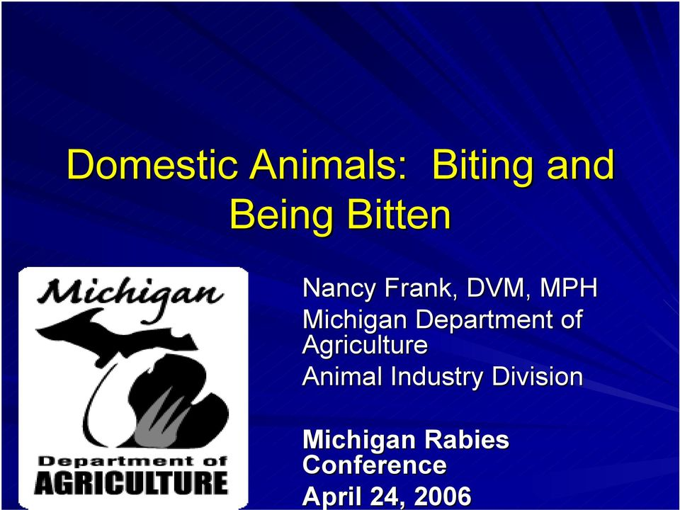 of Agriculture Animal Industry Division
