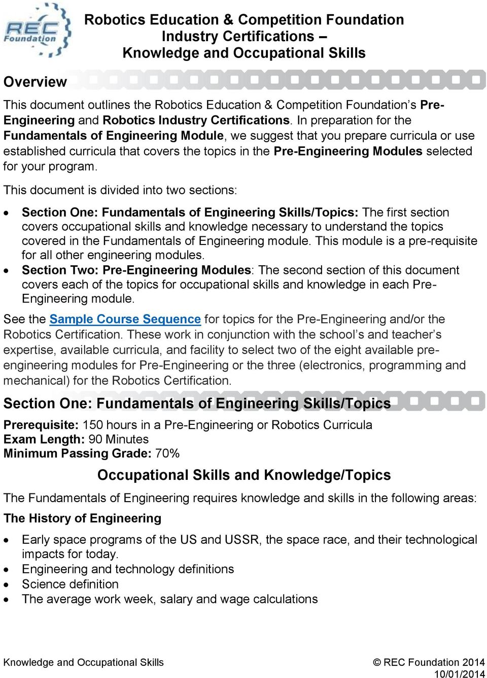 Robotics Education Competition Foundation Industry Certifications