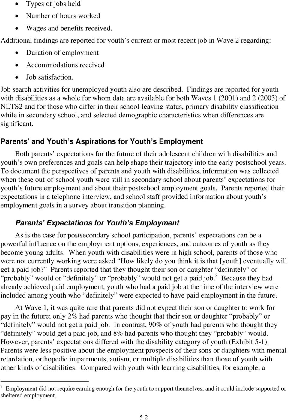 Job search activities for unemployed youth also are described.