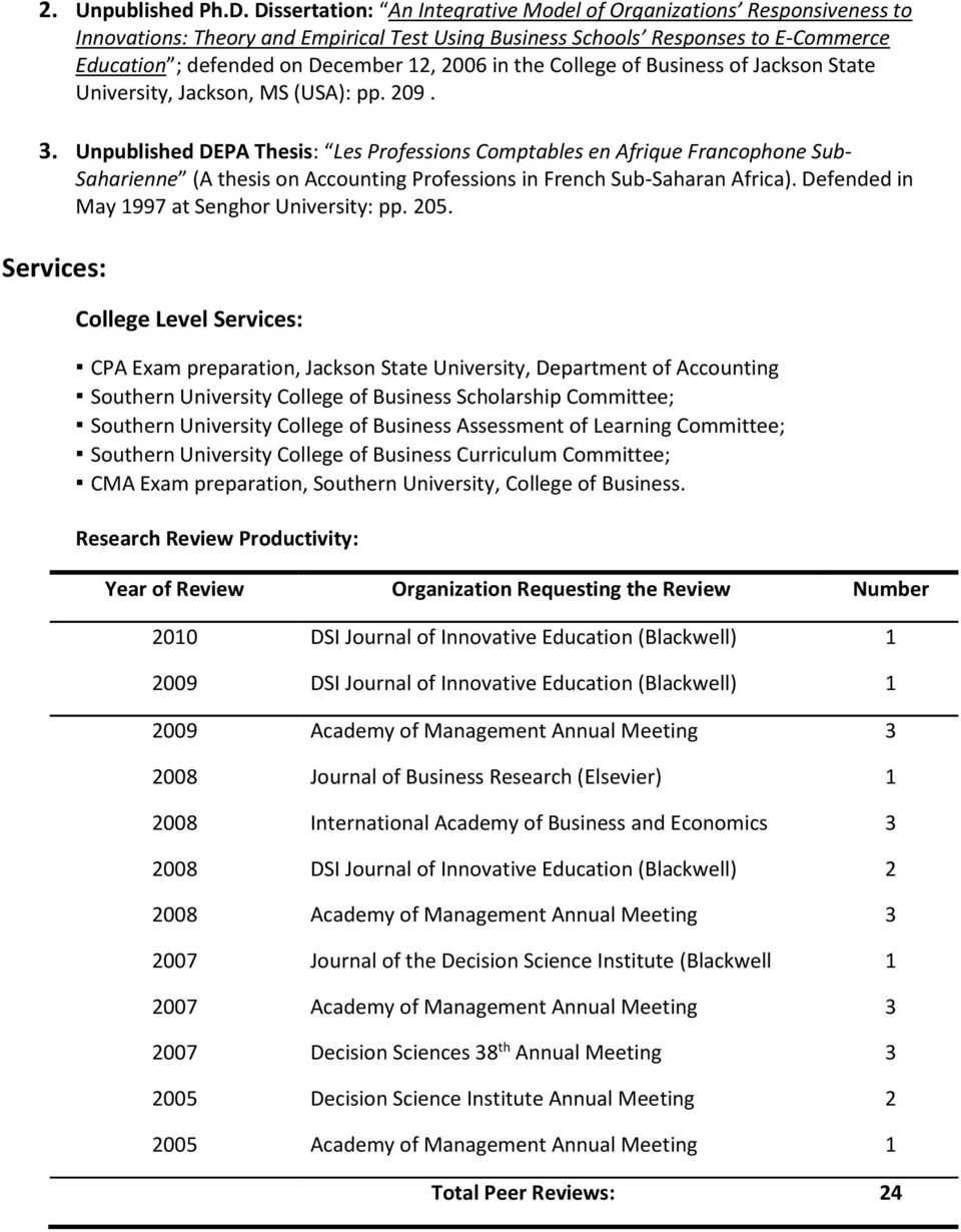 in the College of Business of Jackson State University, Jackson, MS (USA): pp. 209. 3.