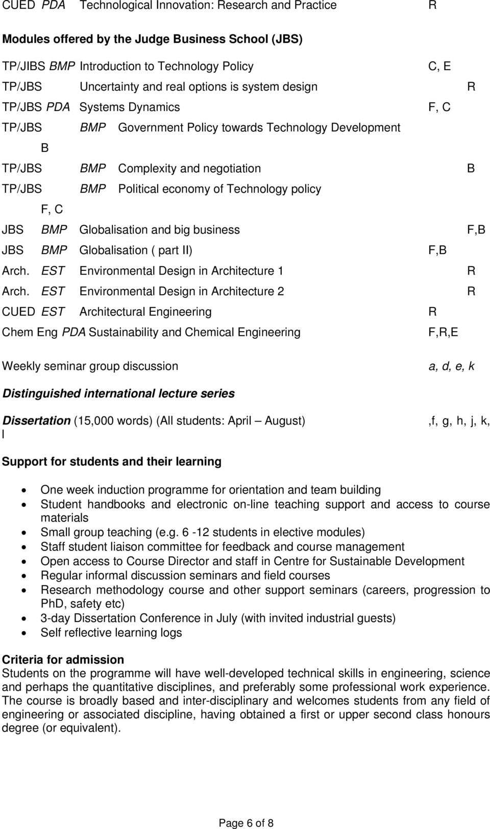 Technology policy F, C JBS BMP Globalisation and big business F,B JBS BMP Globalisation ( part II) F,B Arch. EST Environmental Design in Architecture 1 R Arch.