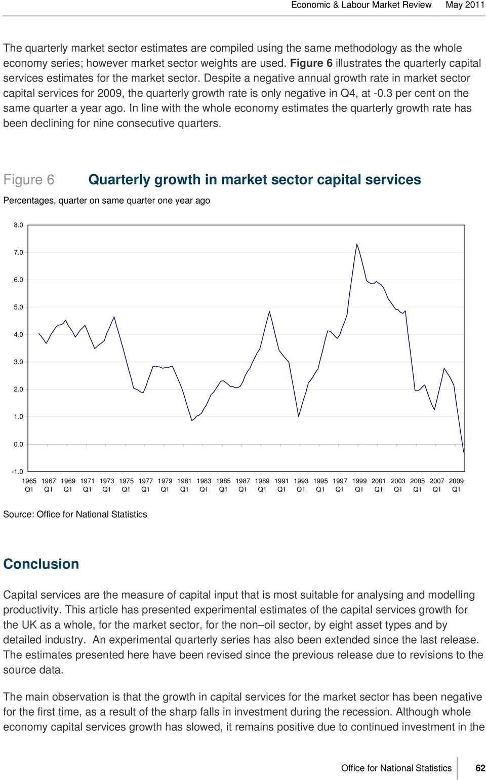 Despite a negative annual growth rate in market sector capital services for 2009, the quarterly growth rate is only negative in Q4, at -0.3 per cent on the same quarter a year ago.