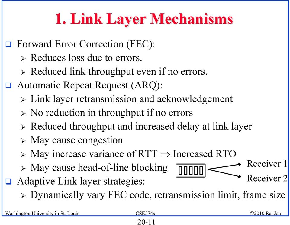 throughput and increased delay at link layer May cause congestion May increase variance of RTT Increased RTO May cause