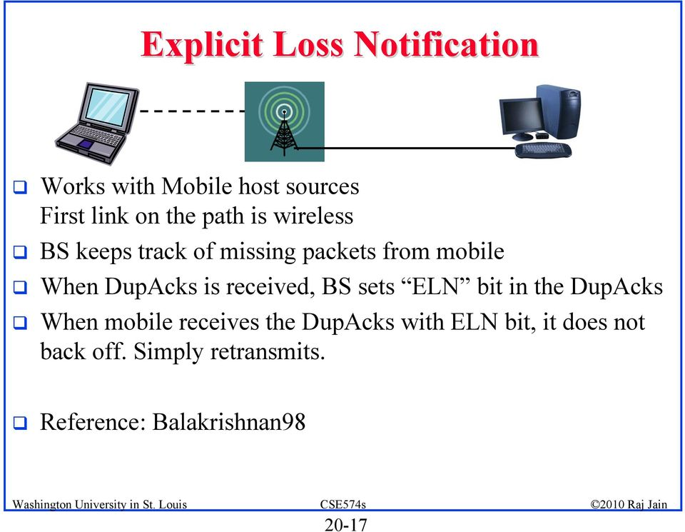 received, BS sets ELN bit in the DupAcks When mobile receives the DupAcks with