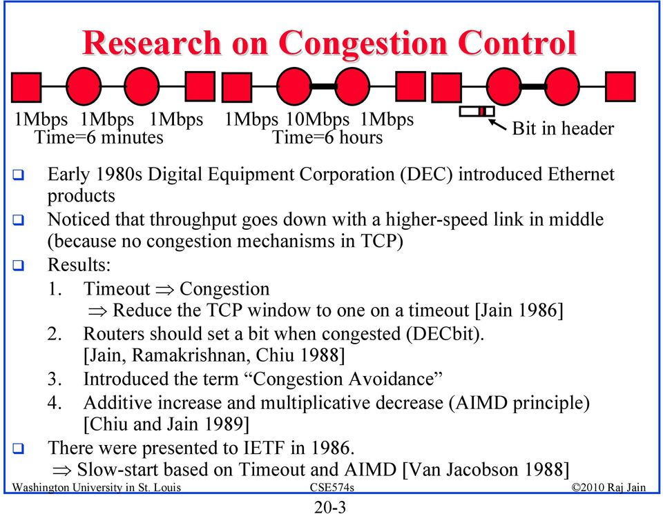 Timeout Congestion Reduce the TCP window to one on a timeout [Jain 1986] 2. Routers should set a bit when congested (DECbit). [Jain, Ramakrishnan, Chiu 1988] 3.